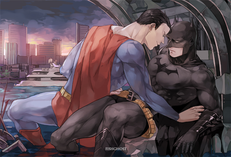 Oh God, I just noticed he's undoing Batman's belt...