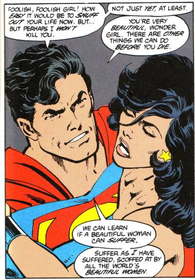 Superman Threatening to Rape Wonder Girl.