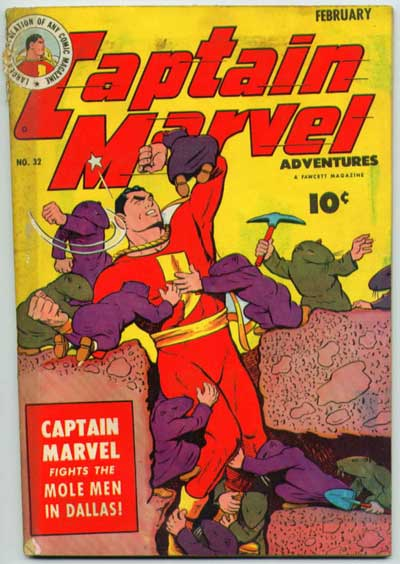 """Captain Marvel Fights the Mole Men in Dallas!"""