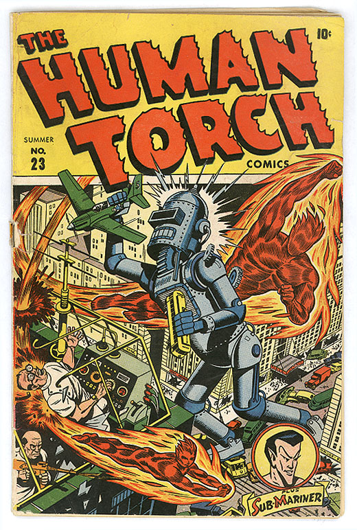 Human Torch vs. Bender From Futurama