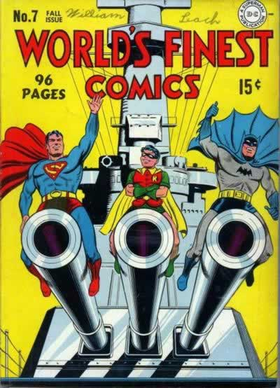 Batman, Superman, and Robin Astride Battleship Cannons.