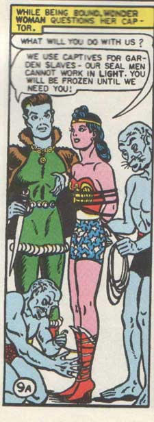 Wonder Woman Captured by the Seal Men.