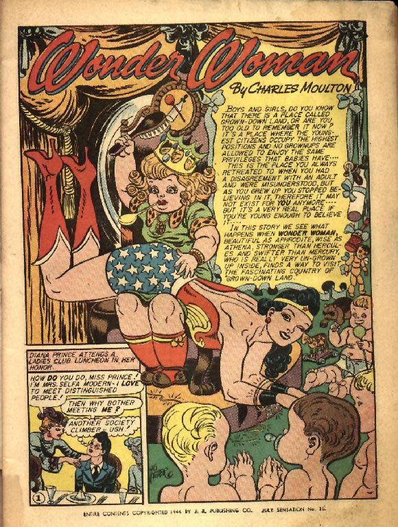 Wonder Woman Spanked by a Giant Doll.