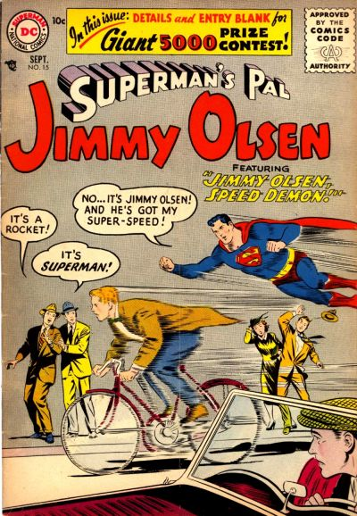 """Jimmy Olsen, Speed Demon!"""
